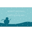 New Year and Merry Christmas with snowman vector image