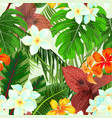 seamless pattern with palm leaves and flowers vector image