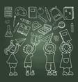 shool icons on the green blackboard vector image