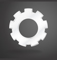 white gear realistic on grey background vector image