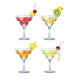 set of margarita cocktails vector image
