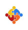 circle puzzle of teamwork logo
