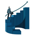 male businessman with briefcase climbing stairs vector image