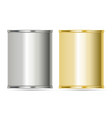 aluminum cans in silver and gold colors vector image