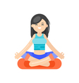 flat style of asian woman doing yoga vector image