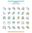icons set on theme insurance vector image