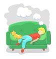 Man Sleeping at Home on Sofa vector image