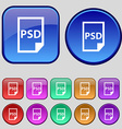 PSD Icon sign A set of twelve vintage buttons for vector image