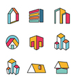Set of real estate house logo designs vector image