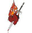 Sword in the heart vector image
