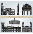 Trieste landmarks and monuments vector image