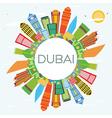 Dubai Skyline with Color Buildings Blue Sky vector image