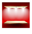 Shelf with lights on red wall vector image vector image