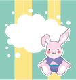 A stationery with a sad bunny vector image vector image
