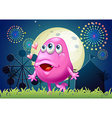 An in-love pink monster at the carnival vector image vector image