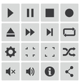 black media player icons set vector image