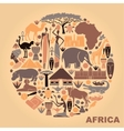 Symbols of Africa in the form of a circle vector image