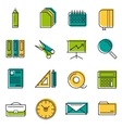 Sixteen thin line colored office icons vector image
