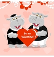 Be my Valentine lettering greeting card with two vector image
