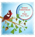 christmas card with branch vector image