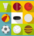 different equipment for outdoor games icons set vector image