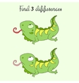 Find differences kids layout for game iguana vector image