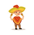cute boy wearing poncho and sombrero national vector image