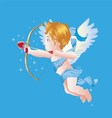 Valentine Day Cupid on Blue vector image