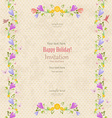 retro invitation card with seamless floral borders vector image