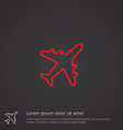 airplane outline symbol red on dark background vector image