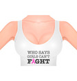 beautiful realistic female breast in a white tank vector image