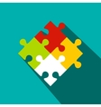 Colorful puzzle flat icon vector image