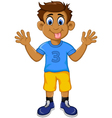 funny boy cartoon showing his tongue vector image