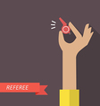 Referee hand holding a whistle vector image