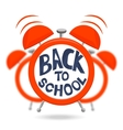Red Alarm clock with bells and text Back to school vector image