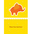 cute baby card with nice elephant vector image vector image