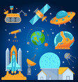 space icons set flat style vector image