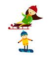 christmas kids playing winter games skiing vector image