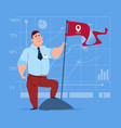 business man hold flag successful achievement vector image