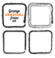 Set of four grunge square charcoal frames vector image