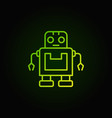 cute green robot icon in thin line style vector image
