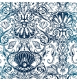 Seamless pattern with marine vintage elements vector image