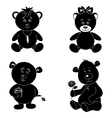 Set cartoon teddy bears silhouette vector image