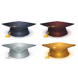 Silver gold and black mortarboard vector image