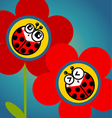 Ladybug flower vector image vector image