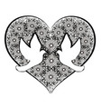 doves with flourishes heart vector image
