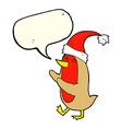 cartoon christmas robin with speech bubble vector image