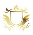 golden shield heraldic luxury frame decoration vector image
