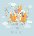 loving fox family as a shape of a heart mother vector image