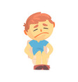 unhappy boy character sitting on toilet suffering vector image